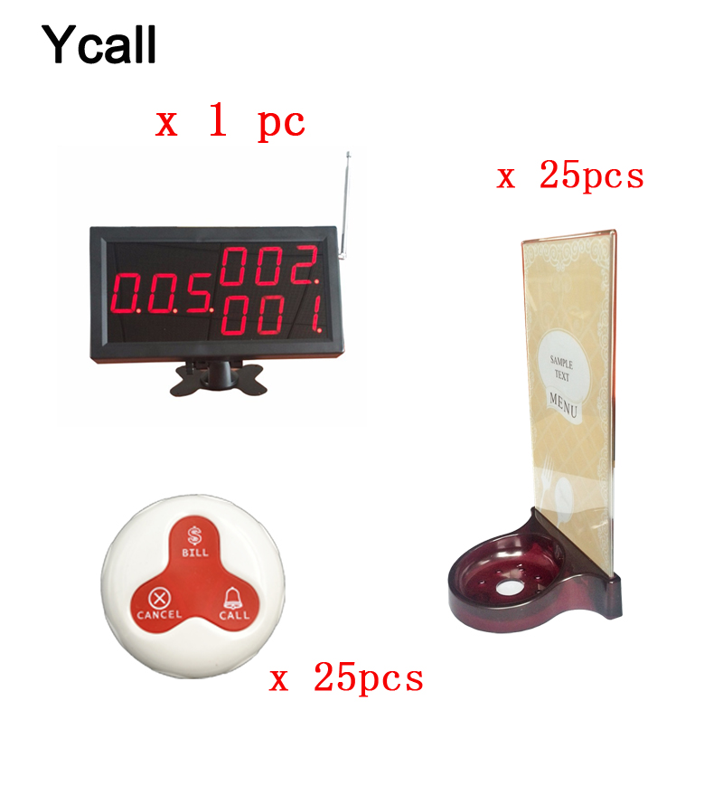 25pcs Call Transmitter Button with Menu Holder+one Display Receiver 433MHz 999CH Restaurant Pager Wireless Calling Systems