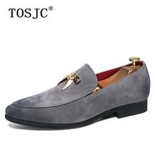 цена TOSJC Brand Mens Suede Leather Loafers Shoes Luxury Popular Mental Decoration Moccasins Casual Outdoor Footwear Comfortable Shoe онлайн в 2017 году