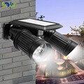 Aplique con energía solar motion sensor dual de 180 grados de ajustable cabeza 14 led spotlight para terraza patio de conmutación automática cerca del jardín