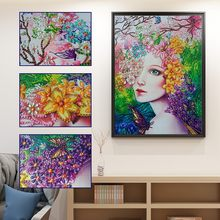 Flower Women Portrait Rectangle Shaped Diamond Painting DIY 5D Partial Drill Cross Stitch Kits Crystal Hands-on Production Decor(China)
