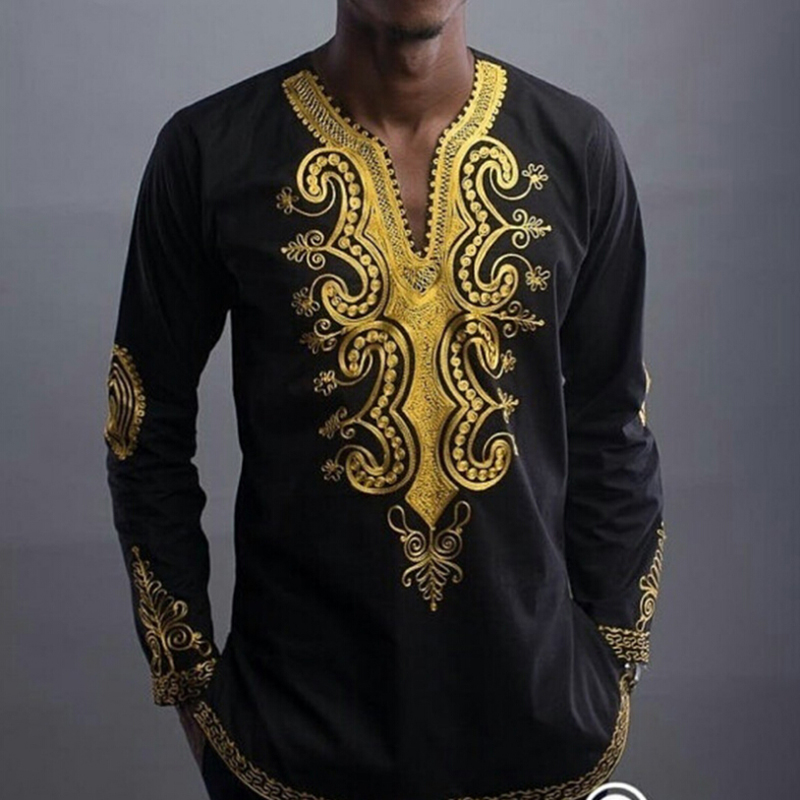 Gold Floral Tatto Collar Design Traditional Style Male Blouse African Print Shirt Men Africa Clothing Black