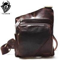New High Quality Vintage Casual Crazy Horse Leather Genuine Cowhide Men Chest Bag Small Messenger Bags