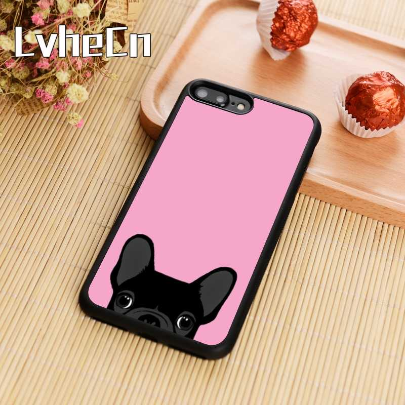 LvheCn Французский бульдог розовый чехол для телефона iPhone 4 5S SE 6 6s 7 8 plus 10 X samsung Galaxy S6 S7 edge S8 S9 plus note 8