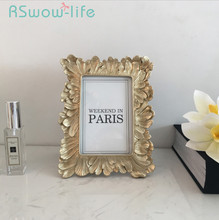 Retro 6 Inch Resin Photo Frame Picture Frames Gold Wall Creative Home Decoration For Desktop Supplies