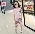 Crianças Meninas Outfits Camisetas & Shorts 2 Pcs Verão de Manga Curta Floral Conjuntos de roupas Para Meninas Ternos Esportivos 4 6 8 10 11 12 anos