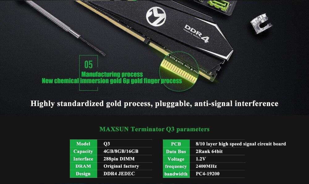 MAXSUN ram ddr4 8GB/16GB Desktop RAMs 4gb Memory 2400MHz memory voltage 1.2V Lifetime Warranty 288pin Flash Single effective RAM 32