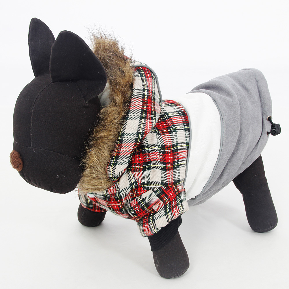 Leather jacket for dogs - Pet Winter Clothing New Dog Clothes Pet Leather Grid Coat Puppy Warming Dog Clothes Assorted 4 Colors