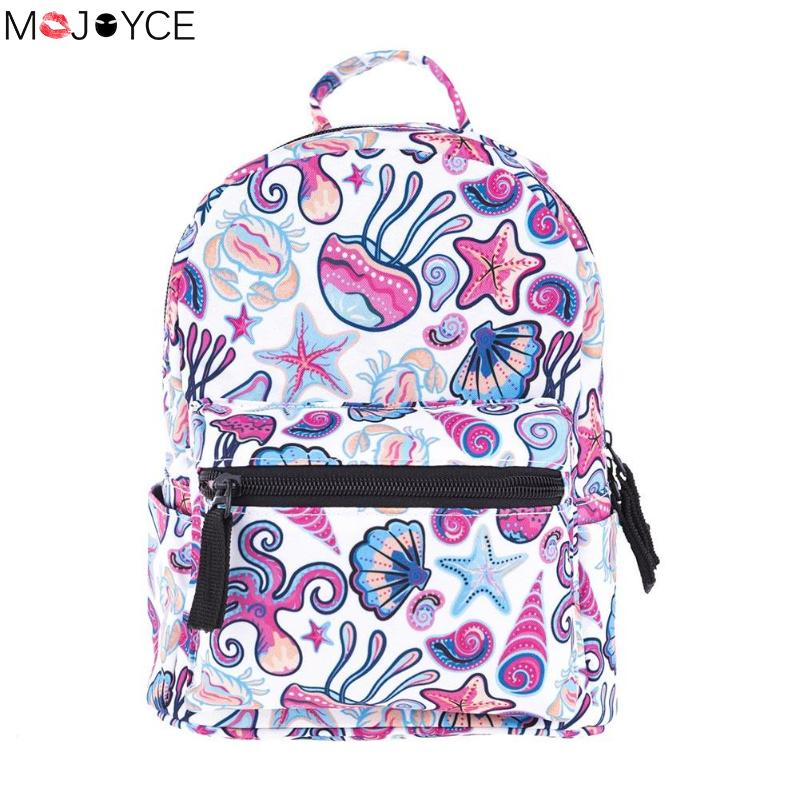 Fashion Mini Backpack Women 3D Print Oxford Cloth School Bag Cute Teenage Girls Shoulder Bags Children Girls Daily Portable Bag