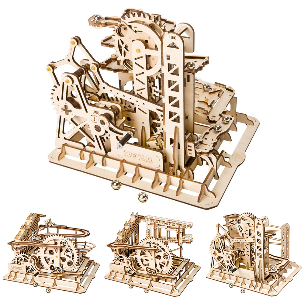 Creative Wooden Toys Marble Run Game DIY Waterwheel Coaster Wooden Model Building Kits Assembly Toy Puzzles Gift for Children