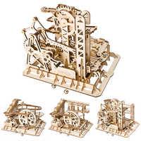Juguetes creativos de madera juego de carrera de mármol DIY posavasos modelo de madera Kits de construcción de juguete de montaje rompecabezas regalo para niños