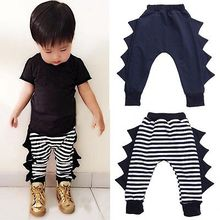 Boys Girls Baby Bottom Trousers Baggy Harem Pants PP Pants Striped Dark Blue Dinosaur Pants Baby Clothes Long Harem Pants 0~4Y