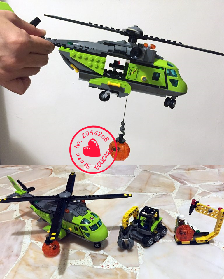 New City Volcano series Supply Helicopter Geological Prospecting fit legoings city figures Building Block Bricks 60123 gift kid bevle 10641 bela city series volcano exploration base geological prospecting building block bricks toys gift for children 60124