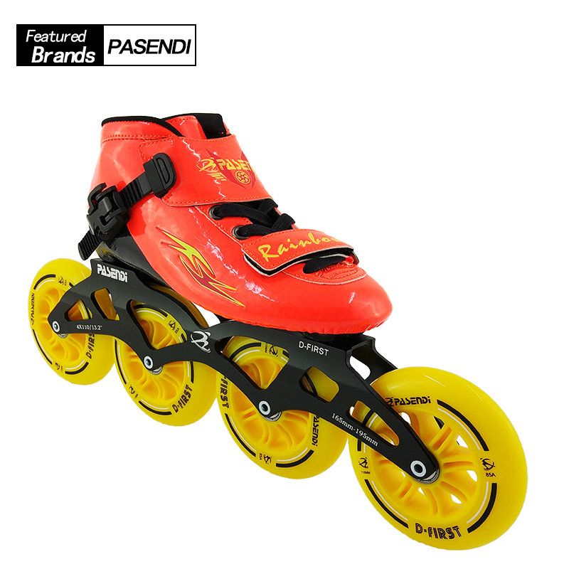 Professional Speed Skating Shoes Adults Kids Beginner Inline Skate 2018 NEW PASENDI Roller Skates Boots 4 wheels Patines cityrun inline speed skate frame 3 125mm 12 6 aluminum alloy 7075 for 3 wheels speed skating shoes basins free shipping bases