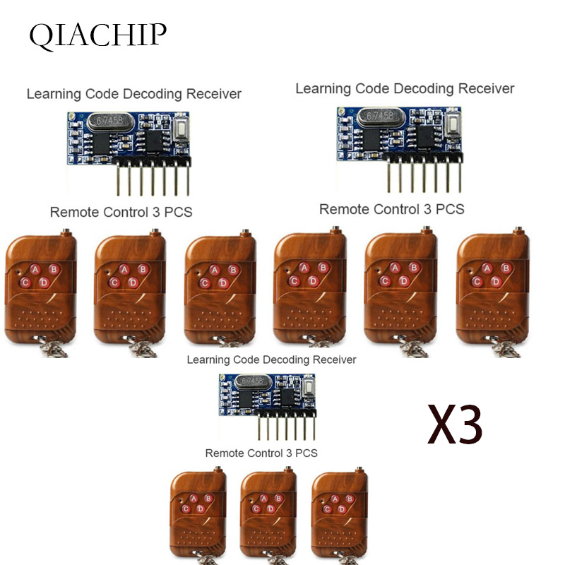 Image 2 - 3 шт. 433 МГц пульт дистанционного управления и 1 шт. 433 МГц беспроводной учебный код приёмника 1527 модуль декодирования 4Ch выход с кнопкой обучения-in Пульты ДУ from Бытовая электроника