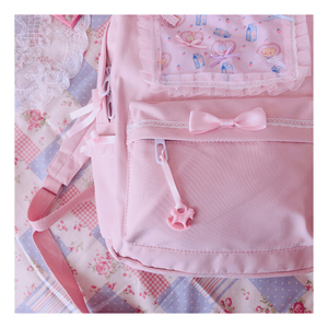 Image 5 - Original Japanese Soft Girl Backpacks Pink Cute Lace Bow Bags  Kawaii Ladies Nylon Backpack Students Daily Girl Style Back Pack