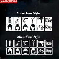 Hair stylist haircut hairdressing perm barber shop decorative wall stickers hair salon window glass stickers removable stickers