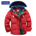 High Quality Down Coat 2016 Winter Jacket Boys Cap Detachable Zipper Parka Solid Color Hooded Jackets Fashion Thicken Clothing