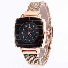 Starry Sky Women Quartz Wrist Watch Stylish Mesh Alloy Magnetic Clasps Square Dial Watch Minimalist Crystal Creative Lady Watch