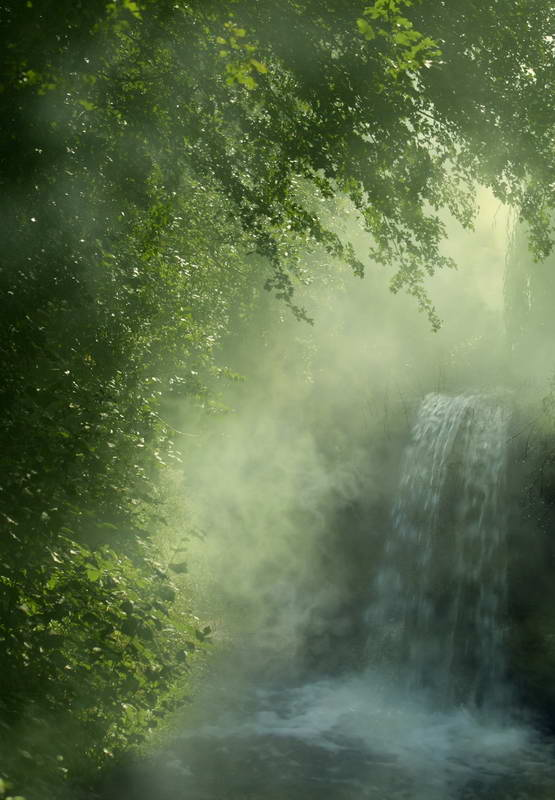 waterfall forest green tree bokeh Backgrounds Vinyl cloth ...
