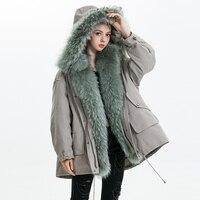 Новый пуховик Для женщин зима большой мех енота парка с капюшоном белая утка перо Ourwear натуральной меховой воротник отделка пуховик женский