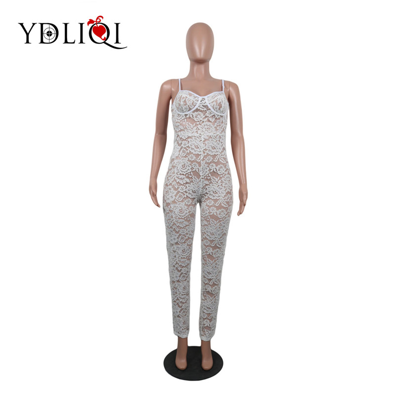Summer Zipper Hollow out See Through Party Catsuit overall Spaghetti Strap Sexy Lace Jumpsuit Women White Sleeveless Long Romper