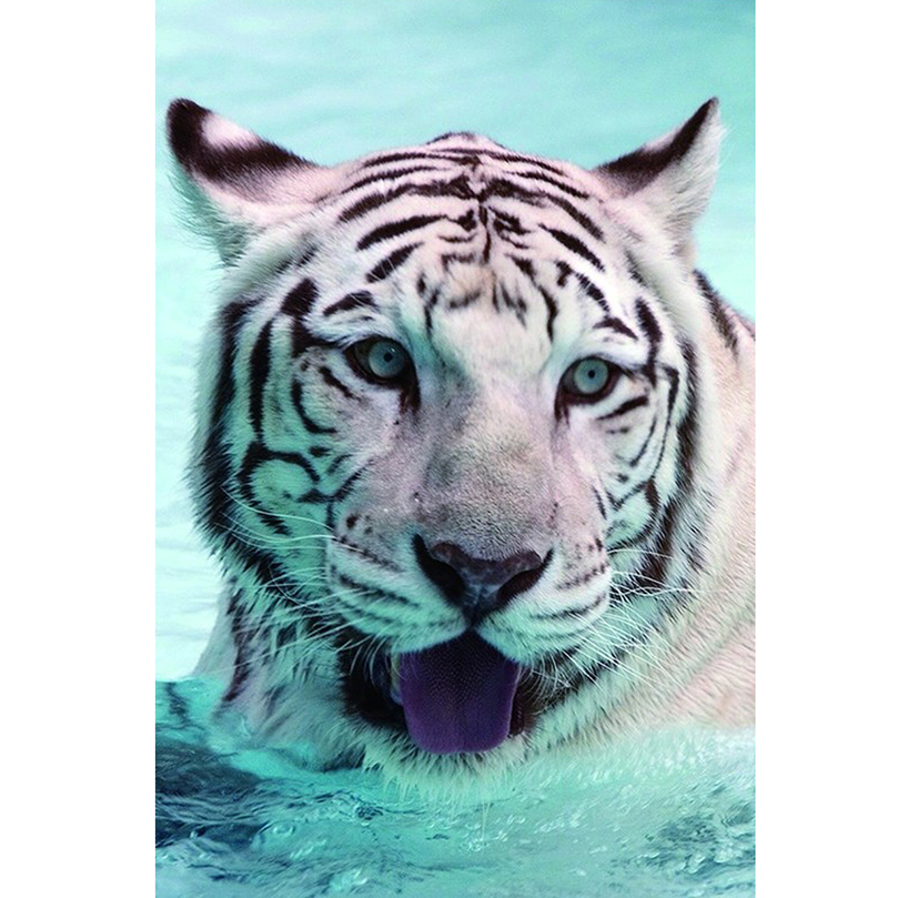 5D Embroidery Cross White tiger animal Diy Diamond Paintings Full Mosaic Picture Pattern Cross Stitch Rhinestone decor AS291