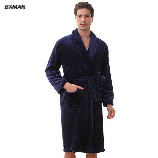 Bxman новое зимняя одежда мужчин полиэстер мужская с капюшоном фланель халаты зимой свободного покроя несколько цвет халаты мужчины домашняя одежда 69