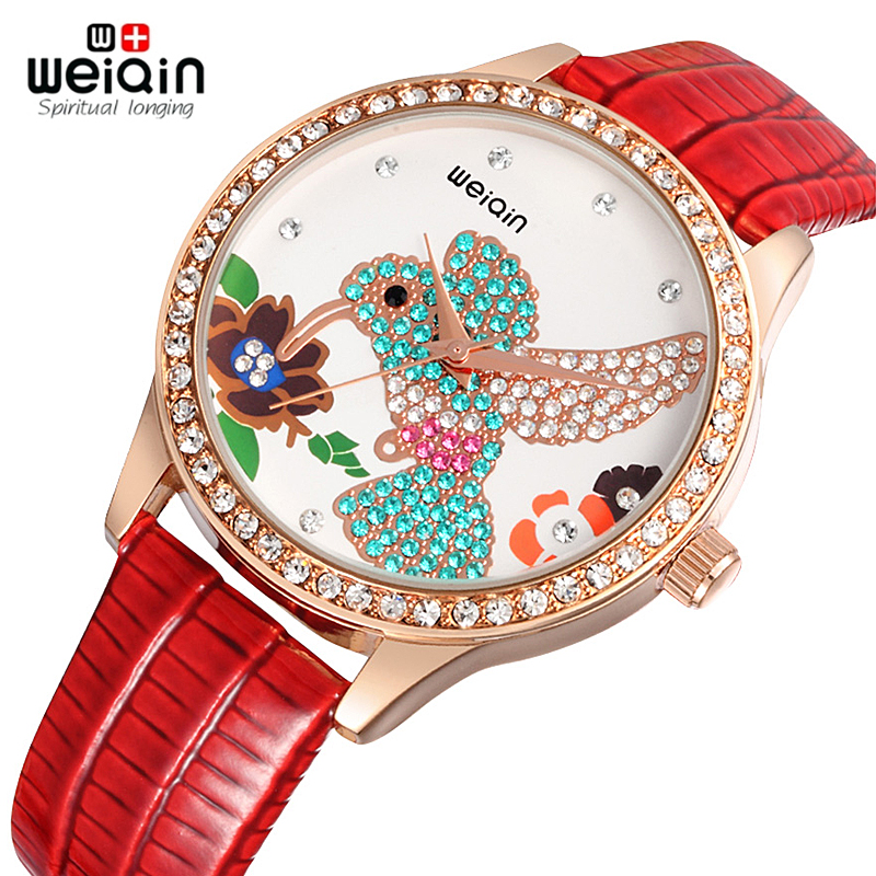 WEIQIN Fashion Women Luxury Quartz Watch Rhinestone hummingbird dial Watches PU Leather Strap Rose Gold Case Dress Wristwatches цена и фото