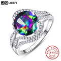 Brand Jewelry 5ct Genuine Rainbow Fire Mystic Topaz Ring Gift For Women Solid 925 Sterling Silver Jewelry Retro Accessories