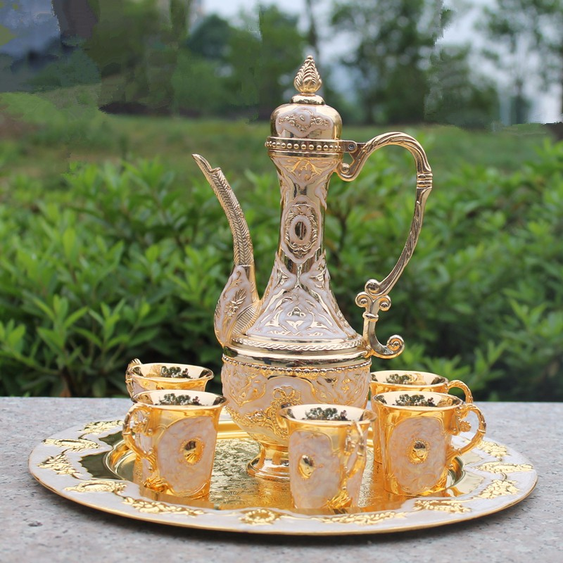 Free shipping gold color metal Sherbet set/tea set, fashion zinc alloy Sherbet set, 1 set= 1 plate+ 1 pot +6 cups