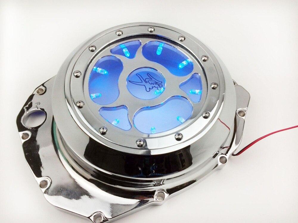 Blue LED See Through Engine Clutch Cover For Suzuki GSXR1300 Hayabusa 99-13 Blac