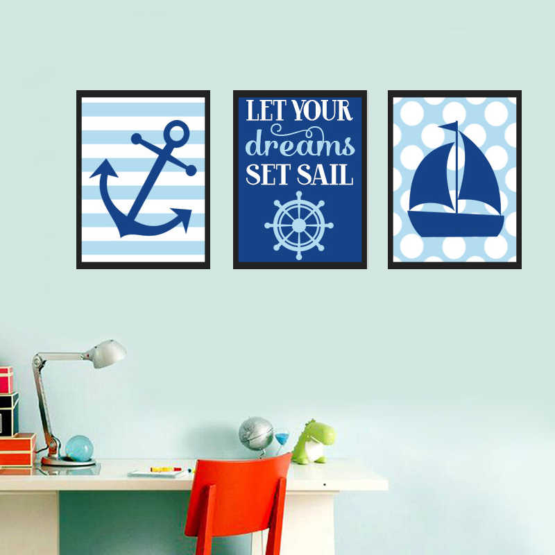 Navy Blue Nautical Sailboat Anchor Nursery Decor Canvas Painting Wall Art Poster Print Pictures For Kids Bedroom Home