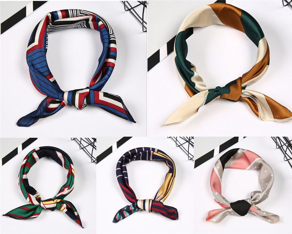 Elegant Floral Women Spring Summer Head Neck Hair Tie Band Neckerchief Square   Scarf   Fake Silk   Wraps
