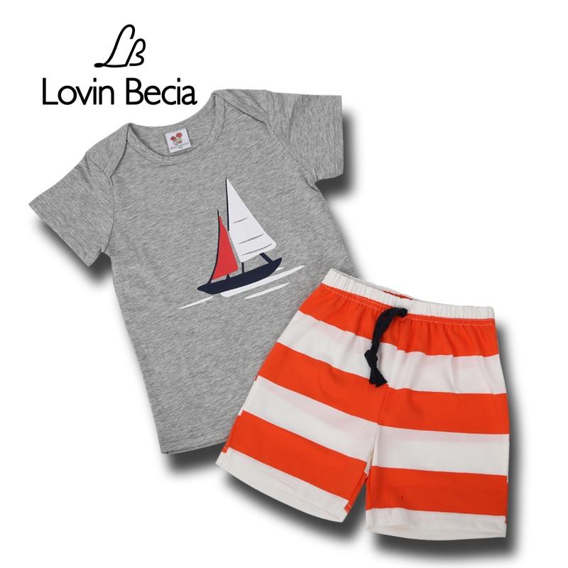 LOVINBECIA  Toddler Baby T-shirt pants newborn Kid boys Summer ferry sport children clothing shorts costume suit cotton sets blanco elipso s ii grey beige