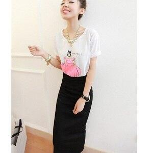 Image 5 - Korean Women Long Skirts High Waist Slim Thin Slit Skirt Saia Longa Rib Tight Package Hip Skirt  MY917