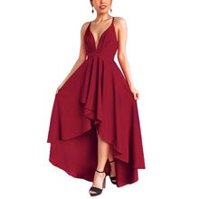 цена на Womens Plus Size Summer Sleeveless Evening Party Maxi Dress Solid Color Deep V-Neck Ruched High Waist Asymmetric Hem Pleated Bac