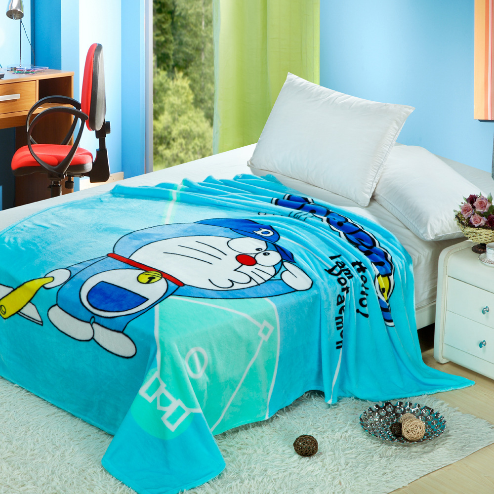 Cartoon Coral Fleece Blanket Doraemon Printed Warm and Super Soft Warm Blanket for Adult/kids on Bed/sofa/Travel Throw 150x200cm