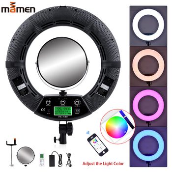 MAMEN Colorful Beauty Light 480 LEDs Photographic Lamps Dimmable 2800-10000K 96W Camera Phone Ring Light Lamp & Tripod Mirror