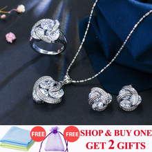 ThreeGraces New Fashion 925 Sterling Silver Jewelry Sets Cubic Zirconia Knot Earrings Necklace and Ring Set for Women JS124