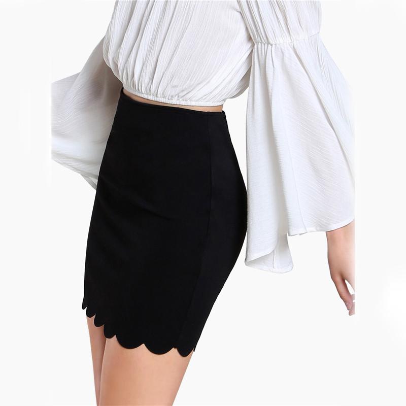 COLROVIE Black Sexy Mini Fitting Skirt Scallop Edge Form Women Elegant OL Summer Pencil Skirts 2017 Back Zip Up Brief Club Skirt 7
