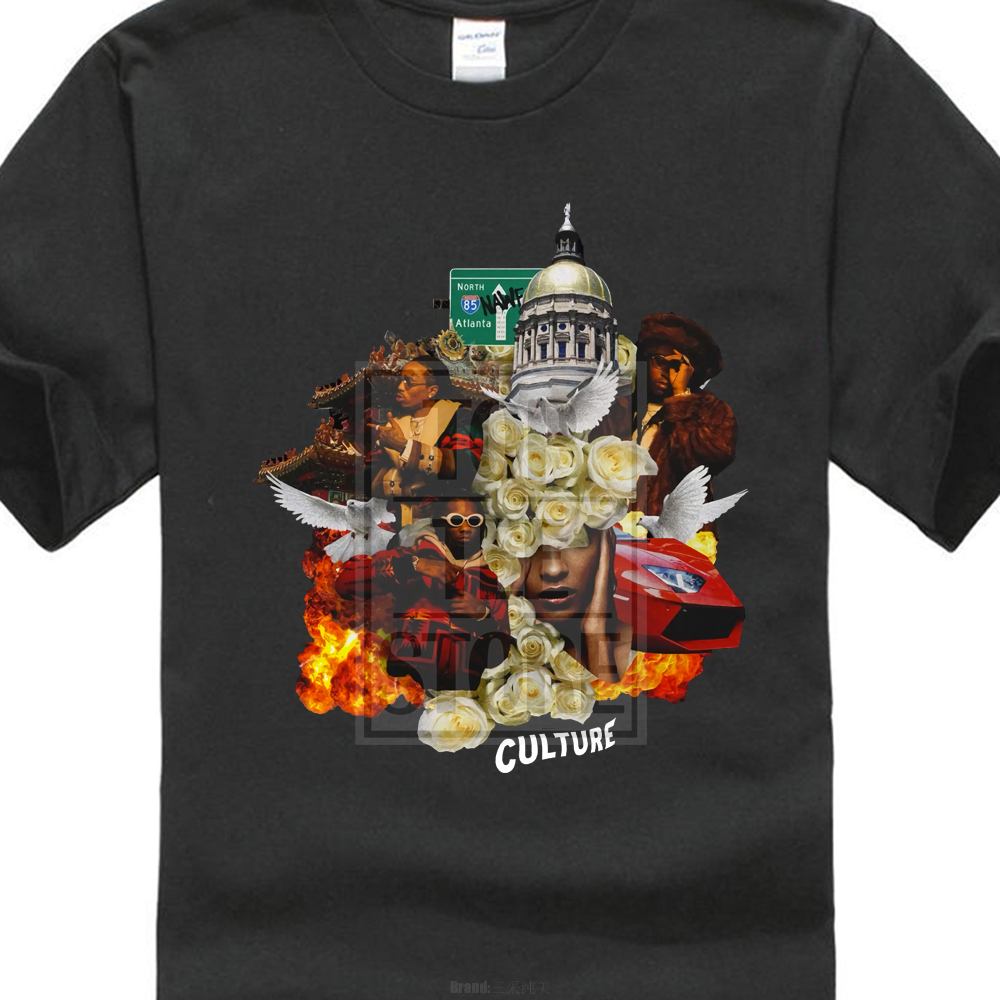 Migos Culture T Shirt Men'S Black Tee Music Hip Hop Rap Band Song New From Us image