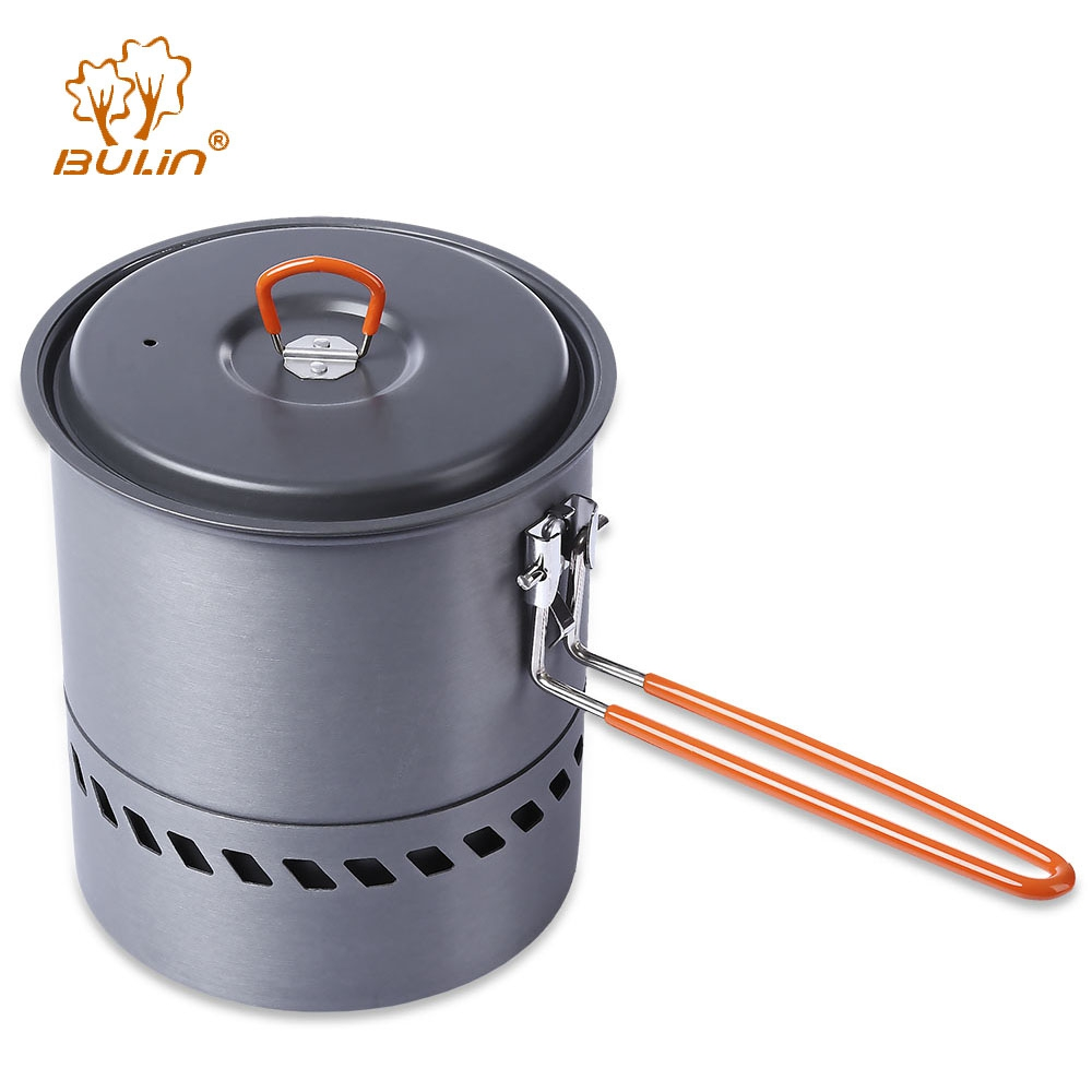 BULin Portable Stove Outdoor Hiking Picnic Backpacking Tableware Set Cookware Camping Pot Cooking Pan for Fishing Home Use BBQ