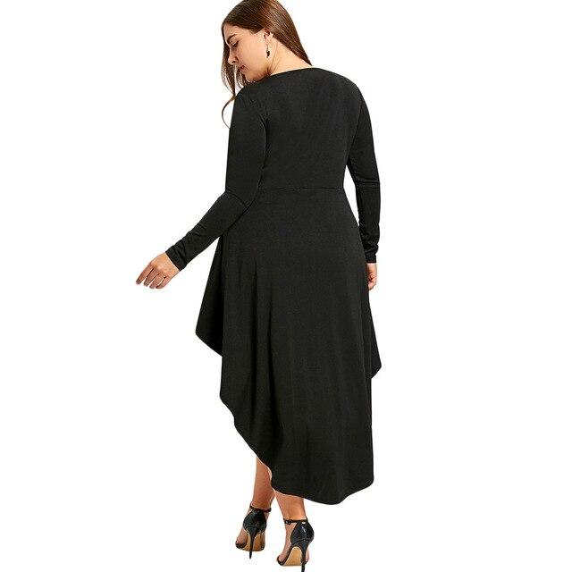 Plus Size Gothic Style Long Sleeves Irregular Dress Black Lace Up High Low Hem Feminino Dress Vestidos de Festa Robe Tunic 3