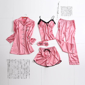 Image 4 - Spring Summer Women Long Sleeve Print Pajamas Sets with Pants Sexy Spaghetti Strap Pijama 5 Pieces Homewear with Chest Pads