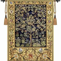 William morris blue tree of life 140*107cm antique textile decorative Belgiu wall hanging tapestry for home decorative tapestry