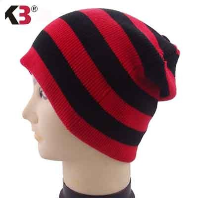Distressed Stripe Slouch Beanie Skull Cap Trendy Warm Winter Slouchy Beanie Hat (9)