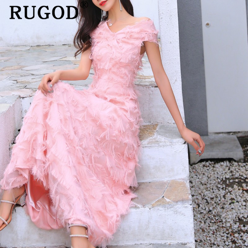 RUGOD Elegant off sholder party dress women Vintage Tassel long maxi dresses vestidos ladies Fashion white summer dress 2019