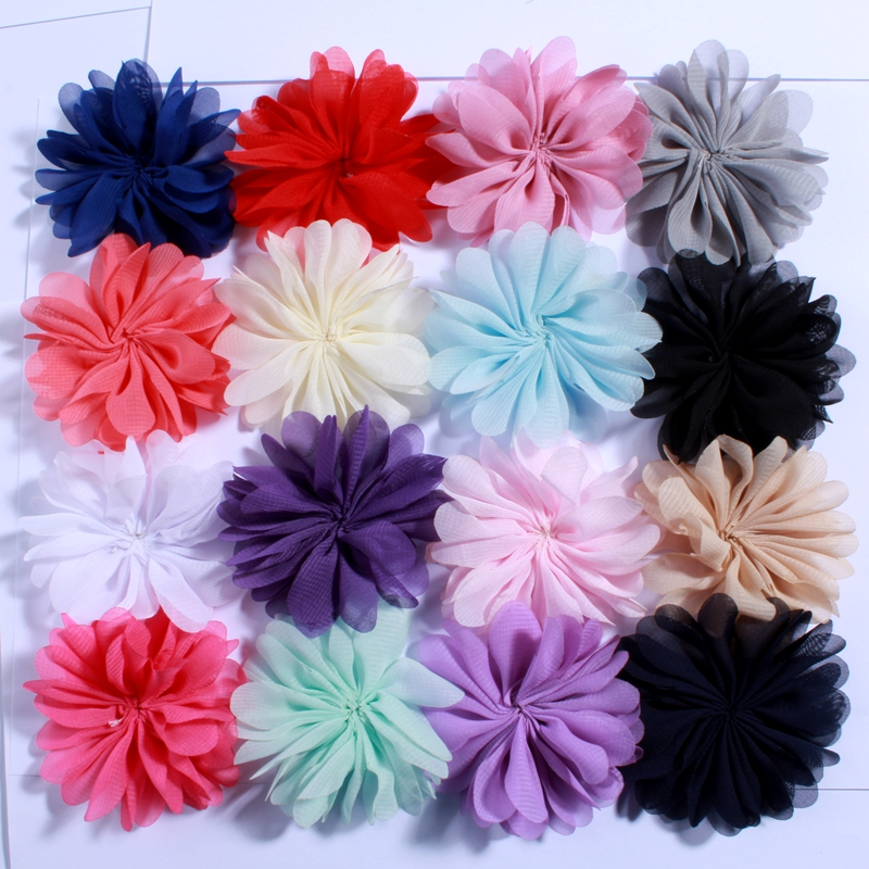 10PCS 6.5cm Artificial Fabric Chiffon Flower for Dress Kids DIY Headband Flower Accessory Hair Floral Flatback