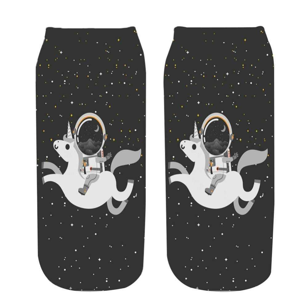 DA CORSA PULCINO Spazio astronauta unicorn 3d calzini di stampa delle donne 2018 nuovo