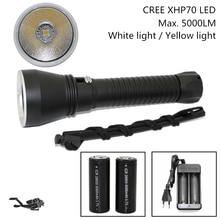 Süper Parlaklık Cree XHP70 LED Sarı/Beyaz Işık 4000 Lümen Dalış El Feneri Taktik 26650 Meşale Sualtı 100 M Su Geçirmez